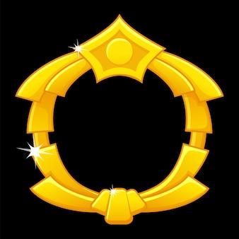 Złota rama do gry, pusty okrągły szablon awatara do interfejsu gry