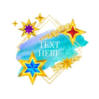 Złota rama farba ręcznie malowana wektorem pociągnięcia pędzla idealny projekt dla nagłówka logo i banera sprzedaży
