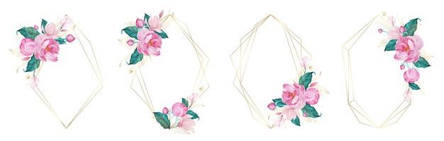 Złota rama geometryczna ozdobiona różowym kwiatkiem w stylu przypominającym akwarele dla karty zaproszenia ślubne