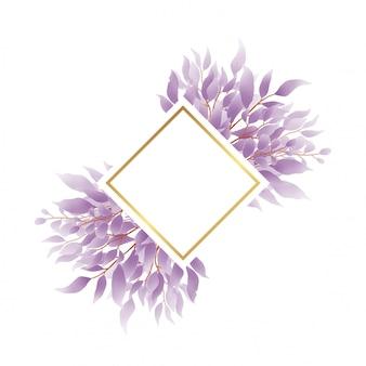 Złota rama i fioletowy liść akwarela styl do dekoracji karty zaproszenia ślubne