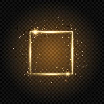 Złota rama luksus na białym tle na przezroczystym tle. świecąca kwadratowa rama z brokatem i gwiazdkami.
