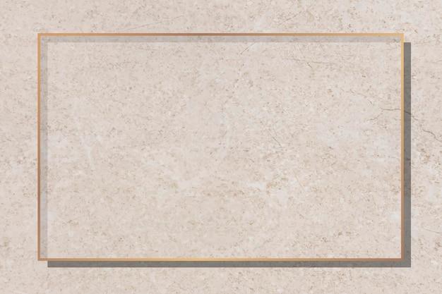 Złota rama na beżowym marmurowym tle wektora