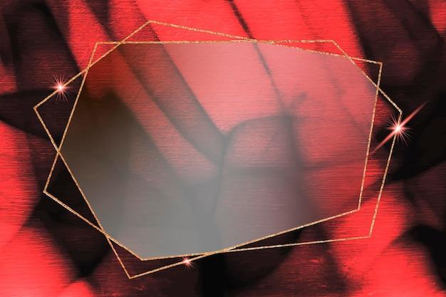 Złota rama pentagonu na abstrakcyjnym tle
