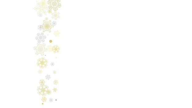 Złota rama płatki śniegu na czarnym tle. motyw nowego roku. pozioma błyszcząca rama świąteczna na transparent wakacje, karty, sprzedaż, oferta specjalna. padający śnieg ze złotym płatkiem śniegu i brokatem na zaproszenie na przyjęcie