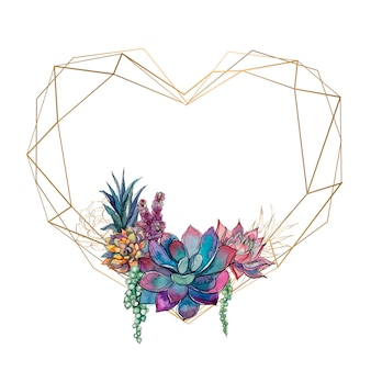 Złota rama serce z sukulenty