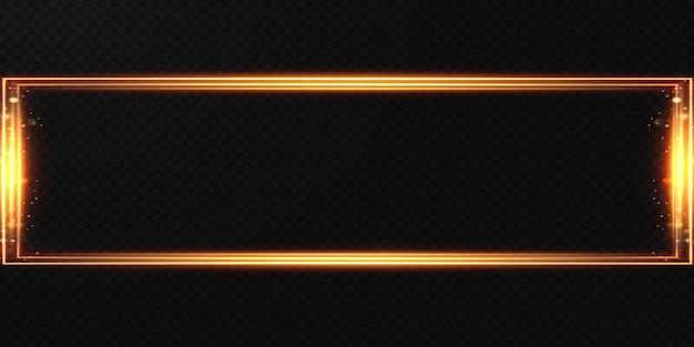 Złota rama światła wykonana z lekkich złotych abstrakcyjnych linii na przezroczystym tle.