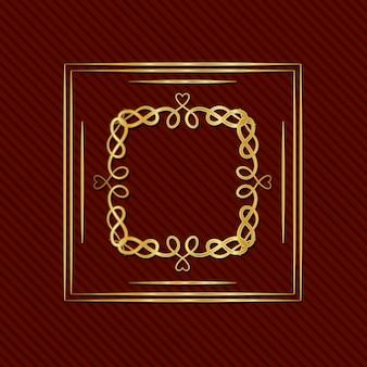 Złota rama w stylu art deco z ornamentem na czerwonym tle
