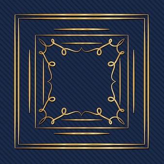 Złota rama w stylu art deco z ornamentem na niebieskim tle