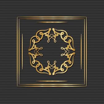 Złota rama w stylu art deco z ornamentem na szarym tle