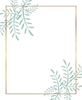 Złota rama z dekoracją gałęzi