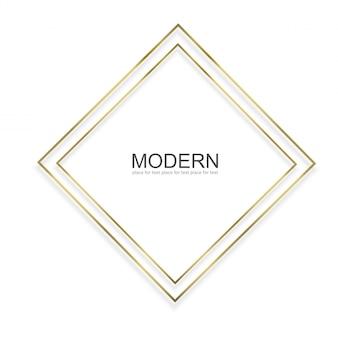 Złota rama z efektami świetlnymi na białym tle. lśniąca prostokątna ramka