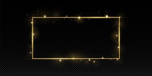 Złota rama z efektami świetlnymi. odosobniony