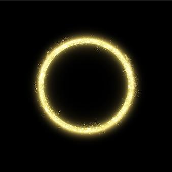Złota rama z efektami świetlnymi. świecący baner koło. pojedynczo na czarnym tle.