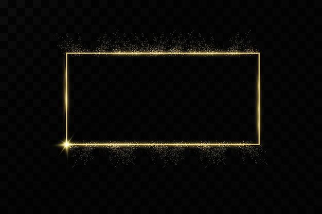 Złota rama z efektami świetlnymi. świecący baner prostokątny.