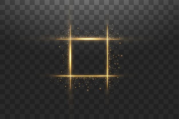 Złota rama z efektami świetlnymi.