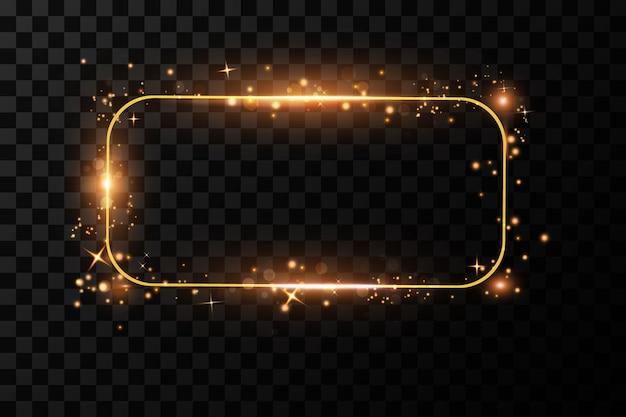 Złota rama z ilustracją efektów świetlnych