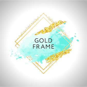 Złota rama z iskierkami i niebieską akwarelą
