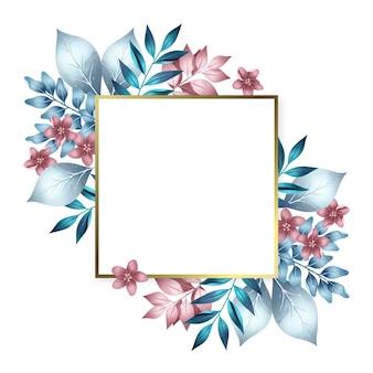 Złota rama z kolorowymi zimowymi kwiatami