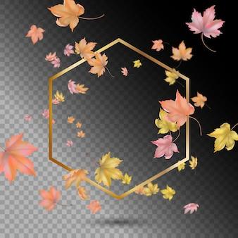 Złota rama z latającymi lub spadającymi liśćmi klonu