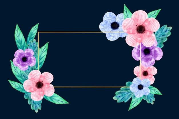 Złota rama z motywem kwiatów zimowych