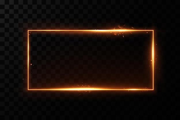 Złota rama z ognistymi iskrami złota rama z efektami świetlnymi lśniący sztandar.