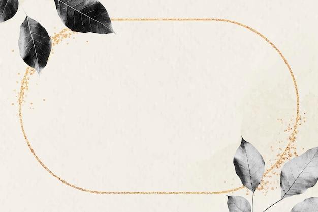 Złota rama z wzorem liści na marmurowym tle z teksturą wektor