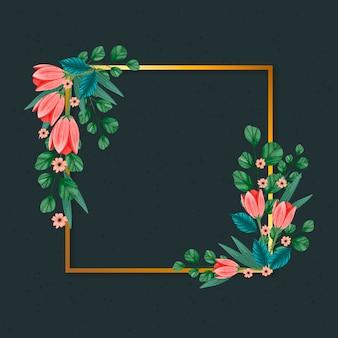 Złota rama z zimowymi kwiatami