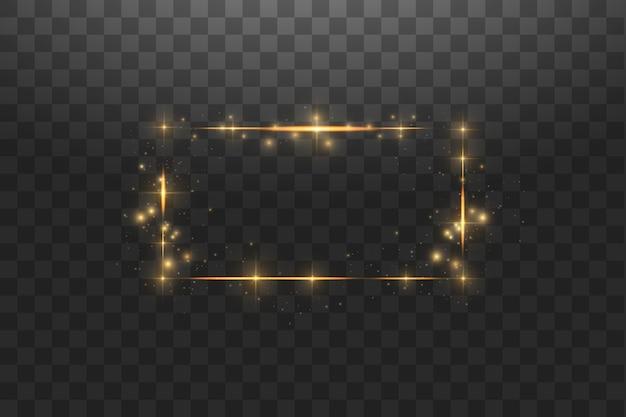 Złota rama ze światłami. błyszcząca linia złota ramka z iskrami i efektami świetlnymi reflektora