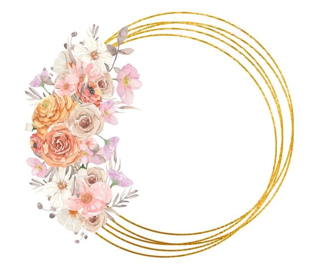 Złota ramka geometryczna z jesiennymi kwiatami akwarelowymi