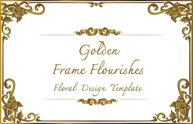 Złota ramka granicy z linii rogu kwiatowy na zdjęcie