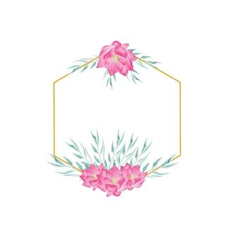 Złota ramka kwiatowa z kwiatami akwarelowymi