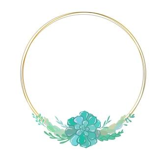 Złota ramka kwiatowa z sukulentami wektor okrągła ramka z kwiatowymi elementami zaproszenie na ślub