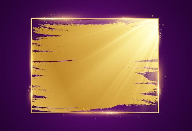 Złota ramka na fioletowym tle