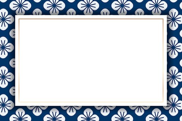 Złota ramka na japońskim bezszwowym wzorze