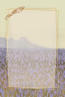 Złota ramka na lawendowym wzorzystym szablonie tła