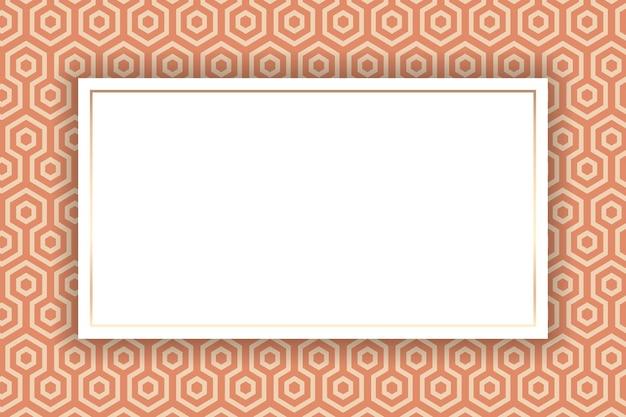 Złota ramka na pomarańczowym japońskim wzorze kikko