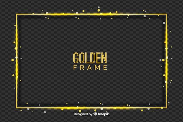 Złota ramka na przezroczystym tle