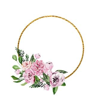 Złota ramka ozdobiona akwarelowymi kwiatami piwonii
