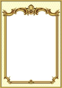 Złota ramka w klasycznym barokowym stylu rokoko.