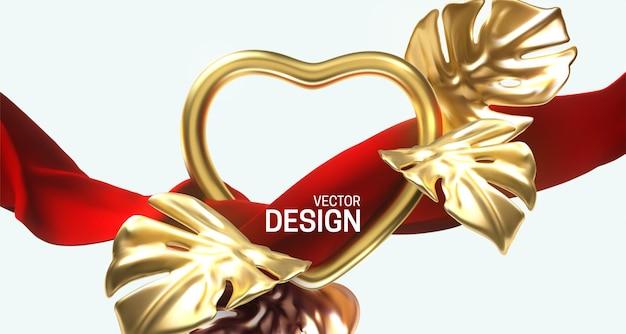Złota ramka w kształcie serca i lejący czerwony materiał ze złotymi liśćmi monstery