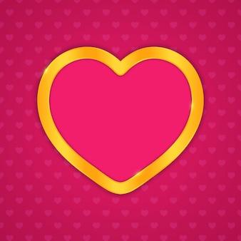 Złota ramka w kształcie serca. projekt wektor na ślub lub walentynki