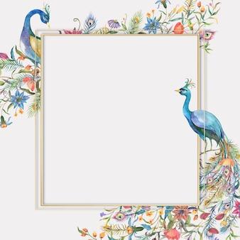 Złota ramka z akwarelą kwiatową i ilustracją pawia
