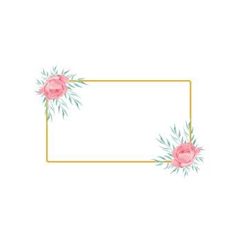 Złota ramka z akwarelowym kwiatem