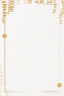Złota ramka z błyszczącym złotym liściem eukaliptusa na beżowym tle