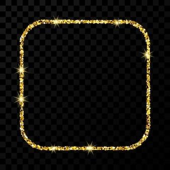 Złota ramka z brokatem. kwadrat z zaokrąglonymi narożnikami ramki z błyszczącymi iskierkami na ciemnym przezroczystym tle. ilustracja wektorowa