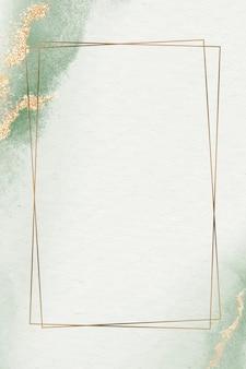 Złota ramka z brokatem na zielonej akwareli