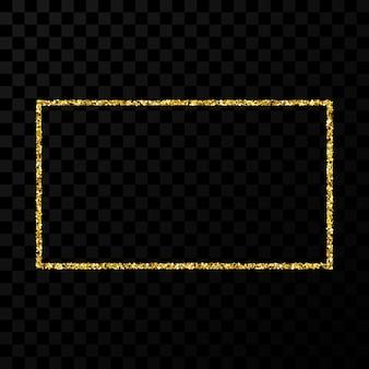 Złota ramka z brokatem. pionowa ramka prostokątna z błyszczącymi iskierkami na ciemnym przezroczystym tle. ilustracja wektorowa