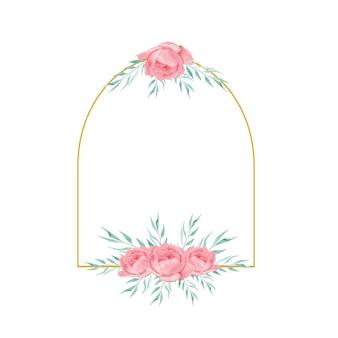 Złota ramka z bukietem kwiatów akwarela