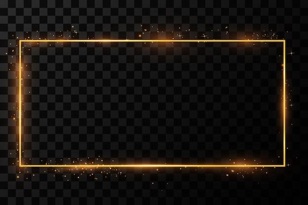 Złota ramka z efektami świetlnymi. błyszczący prostokątny baner. izolowany. ilustracja