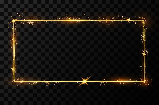 Złota ramka z efektami świetlnymi. błyszczący prostokątny baner. odosobniony
